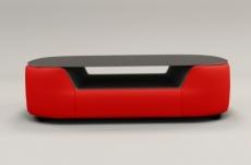 table basse design, plateau de verre foncé, alesia, rouge