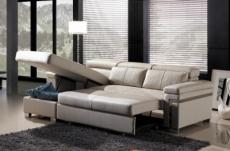 -canapé d'angle convertible en cuir buffle italien 5 places, allure,  beige, angle gauche