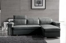 canapé d'angle convertible cuir buffle italien 5 places, allure,  gris foncé, angle droit
