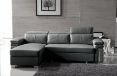 -canapé d'angle convertible en cuir buffle italien 5 places, allure,  gris foncé, angle gauche