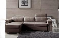-canapé d'angle convertible en cuir buffle italien 5 places, allure,  moka, angle gauche