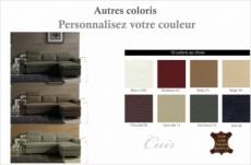 canapé d'angle convertible en cuir buffle italien 5 places, allure,  couleur personnalisée, angle droit