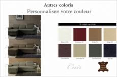 -canapé d'angle convertible encuir buffle italien 5 places, allure,  couleur personnalisée, angle gauche