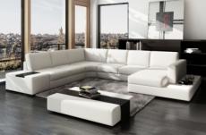 canapé d'angle en cuir italien 8 places almera, blanc
