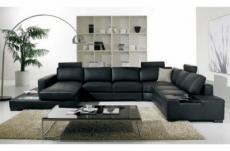 canapé d'angle design 8 places arezzo avec tétières, noir, angle droit