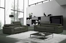 ensemble composé d'un canapé 3 places et d'un canapé 2 places en cuir luxe italien, alonso, gris foncé
