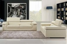 ensemble composé d'un canapé 3 places et d'un canapé 2 places en cuir luxe italien, alonso, écru