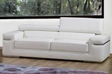 canapé 3 places en cuir italien alonso, blanc