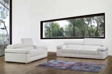 ensemble composé d'un canapé 3 places et d'un canapé 2 places en cuir luxe italien, alonso, blanc