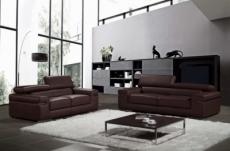 ensemble composé d'un canapé 3 places et d'un canapé 2 places en cuir luxe italien, alonso, chocolat