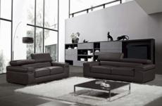 ensemble composé d'un canapé 3 places et d'un canapé 2 places en cuir luxe italien, alonso, noir