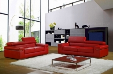 ensemble composé d'un canapé 3 places et d'un canapé 2 places en cuir luxe italien, alonso, rouge