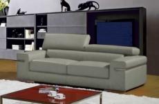 canapé 2 places en cuir italien alonso, gris clair