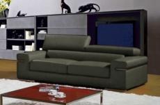 canapé 2 places en cuir italien alonso, gris foncé