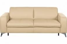canapé 3 places convertible en 100% tout cuir italien de luxe alvine, beige
