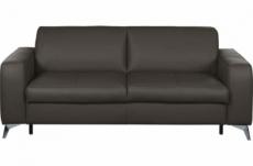 canapé 3 places convertible en 100% tout cuir italien de luxe alvine, chocolat