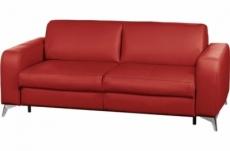 canapé 3 places convertible en 100% tout cuir italien de luxe alvine, rouge