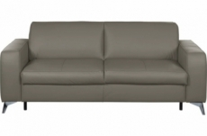 canapé 3 places convertible en 100% tout cuir italien de luxe alvine, couleur taupe