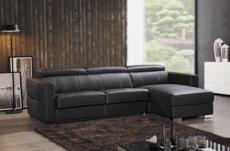 canapé d'angle convertible en cuir de buffle italien de luxe 5 places anthony, chocolat, angle droit.