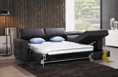 canapé d'angle convertible en cuir de buffle italien de luxe 5 places anthony, noir et surpiqure blanche, angle droit.