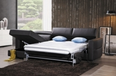 .canapé d'angle convertible en cuir de buffle italien de luxe 5 places anthony, chocolat, angle gauche