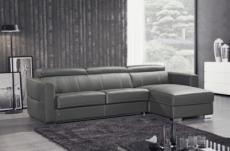canapé d'angle convertible en cuir de buffle italien de luxe 5 places anthony, gris foncé, angle droit.
