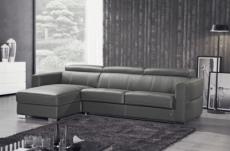 .canapé d'angle convertible en cuir de buffle italien de luxe 5 places anthony, gris foncé, angle gauche