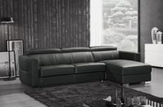 canapé d'angle convertible en cuir de buffle italien de luxe 5 places anthony, noir, angle droit.