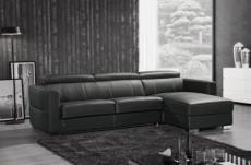 canapé d'angle convertible en cuir de buffle italien de luxe 5 places anthony, noir, angle droit,