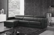 .canapé d'angle convertible en cuir de buffle italien de luxe 5 places anthony, noir, angle gauche