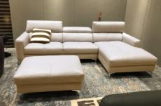 canapé d'angle en cuir buffle italien de luxe, 5 places armano, beige, angle droit