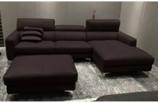 canapé d'angle en cuir buffle italien de luxe, 5 places armano, chocolat, angle droit