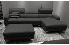 canapé d'angle en cuir buffle italien de luxe, 5 places armano, gris foncé, angle droit