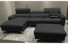 canapé d'angle en cuir buffle italien de luxe 5 places armano, noir, angle gauche