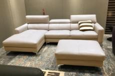 canapé d'angle en cuir buffle italien de luxe 5 places armano, beige, angle gauche