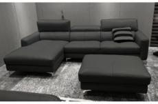 canapé d'angle en cuir buffle italien de luxe 5 places armano, gris foncé, angle gauche