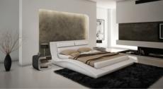 lit cuir arno contemporain 140x190 blanc avec le sommier à lattes pas de chevet