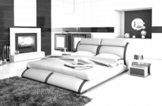 lit en cuir italien de luxe arthus, blanc et liseret noir, en 180x200