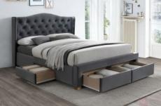 lit double en tissu velours de qualité asena, gris, avec sommier à lattes, 160x200