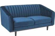 canapé asini 2 places en tissu de qualité, couleur bleu