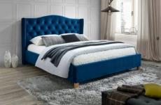 lit double en tissu velours de qualité asma, bleu, avec sommier à lattes, 160x200