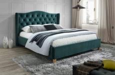 lit double en tissu velours de qualité asma, vert, avec sommier à lattes, 180x200