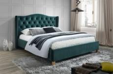 lit double en tissu velours de qualité asma, vert, avec sommier à lattes, 140x200