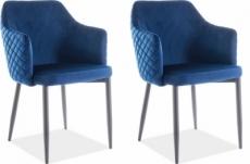 lot de 2 chaises asten en tissu velours de qualité, couleur bleu