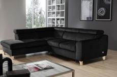 canapé d'angle convertible en tissu luxe 5 places, asteria  noir, angle gauche