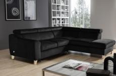 canapé d'angle convertible en tissu luxe 5 places, asteria noir, angle droit