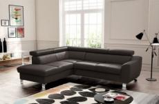 - canapé d'angle en cuir italien de luxe 5 places astero, chocolat, angle gauche