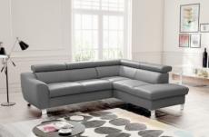 canapé d'angle en cuir italien de luxe 5 places astero, gris clair, angle droit