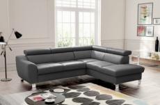 canapé d'angle en cuir italien de luxe 5 places astero, gris foncé, angle droit
