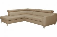 canapé d'angle en cuir italien de luxe 5 places astero, beige, angle gauche